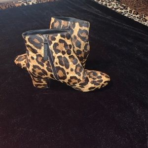 DKNY leopard cow hair booties